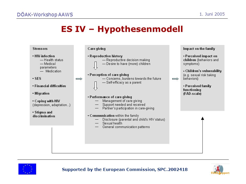 Supported by the European Commission, SPC.2002418 ES IV – Hypothesenmodell DÖAK-Workshop AAWS 1.
