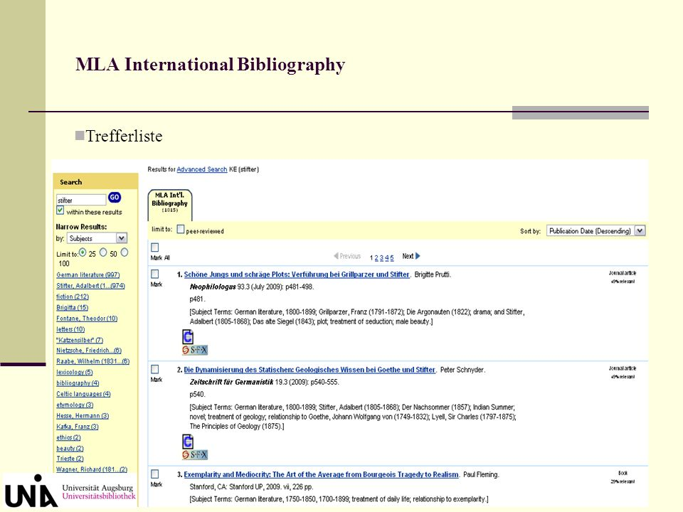 MLA International Bibliography Suchmaske Advanced Search