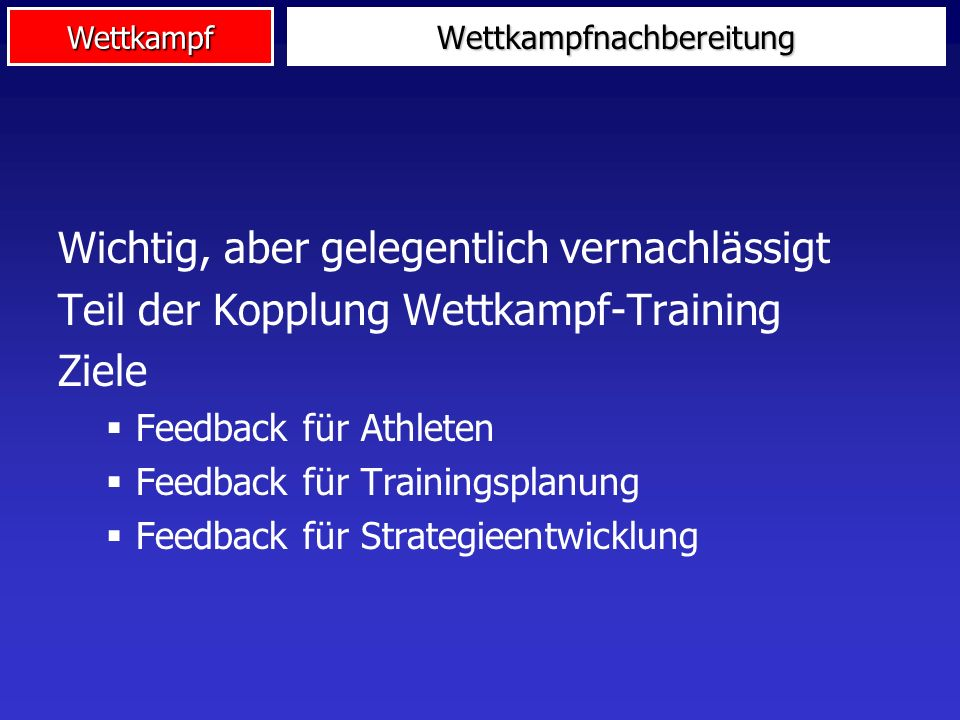 Wettkampfnachbereitung Preparation for competition Competition strategy Level of performance TrainingDiagnostics before Control of competition Competition tactics Behaviour in competition InterventionDiagnostics during competition Competition debriefing Training, next competitions Performance in last competition Diagnostics after
