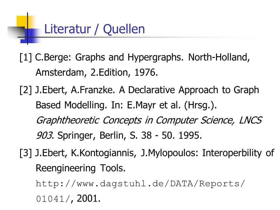Literatur / Quellen [1] C.Berge: Graphs and Hypergraphs.