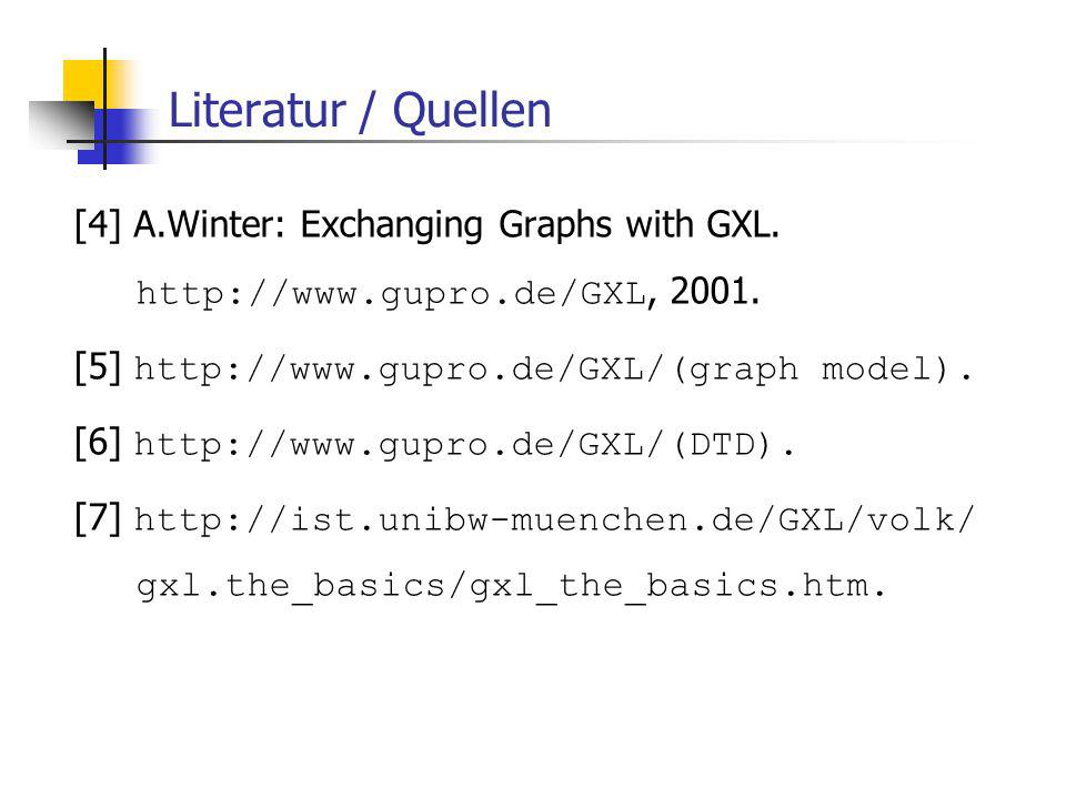 Literatur / Quellen [4] A.Winter: Exchanging Graphs with GXL.