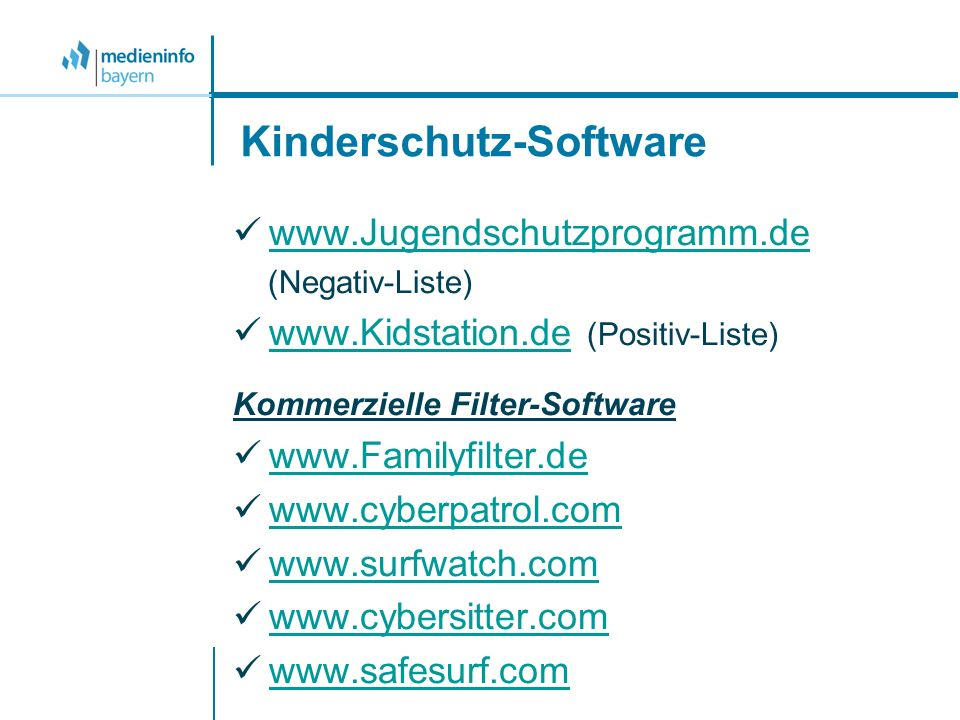 Kinderschutz-Software   (Negativ-Liste)   (Positiv-Liste)   Kommerzielle Filter-Software