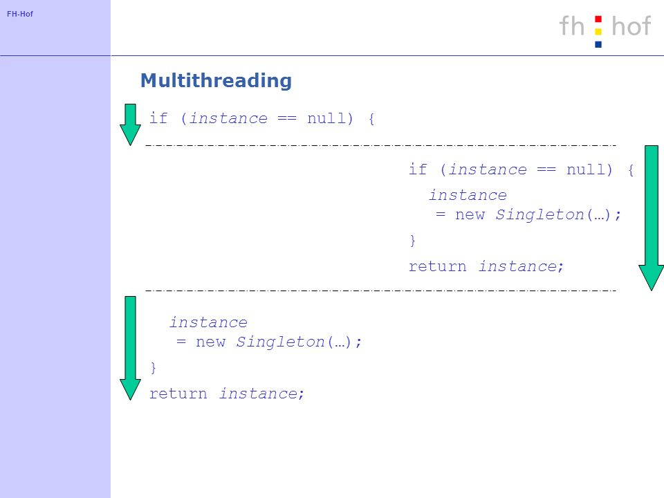 FH-Hof Multithreading if (instance == null) { instance = new Singleton(…); } return instance; if (instance == null) { instance = new Singleton(…); } return instance;