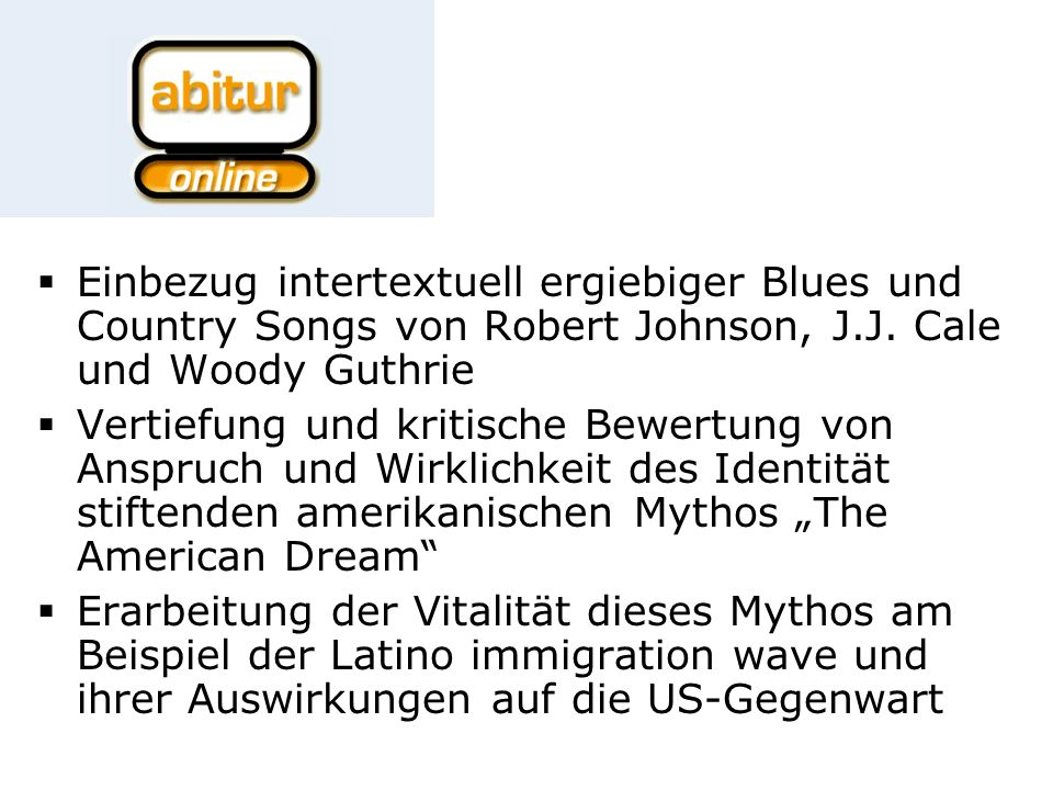 Einbezug intertextuell ergiebiger Blues und Country Songs von Robert Johnson, J.J.