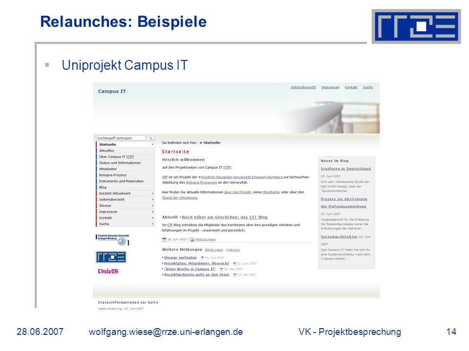 VK - Uniprojekt Campus IT Relaunches: Beispiele