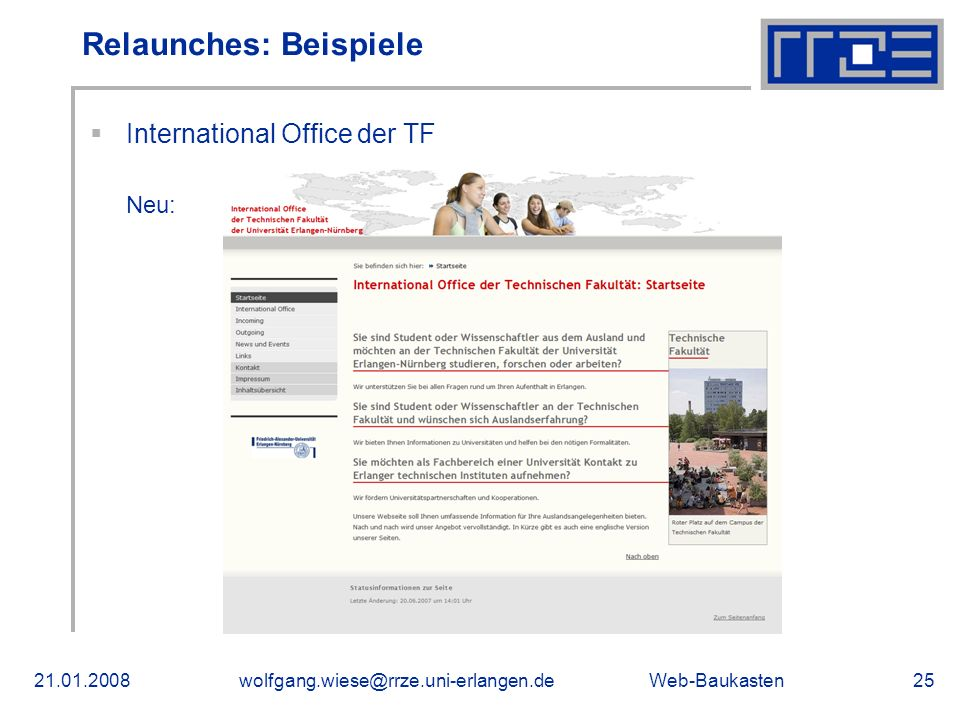International Office der TF Neu: Relaunches: Beispiele