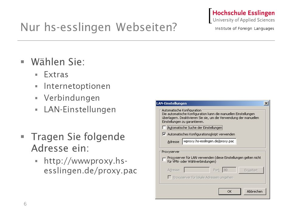 Institute of Foreign Languages 6 Nur hs-esslingen Webseiten.