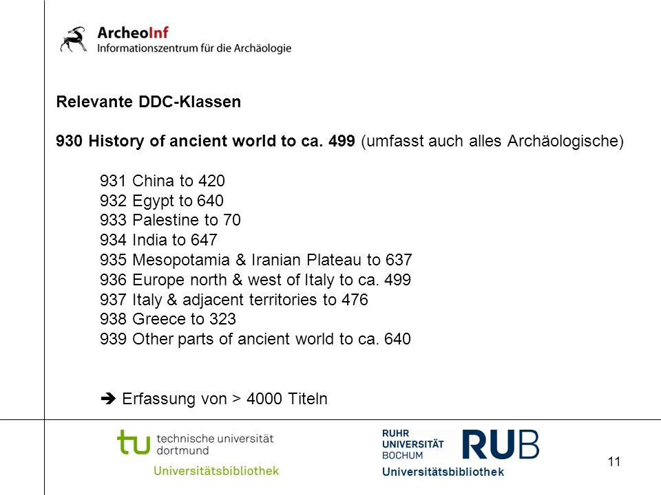 11 Relevante DDC-Klassen 930 History of ancient world to ca.