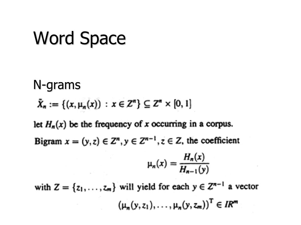 Word Space N-grams