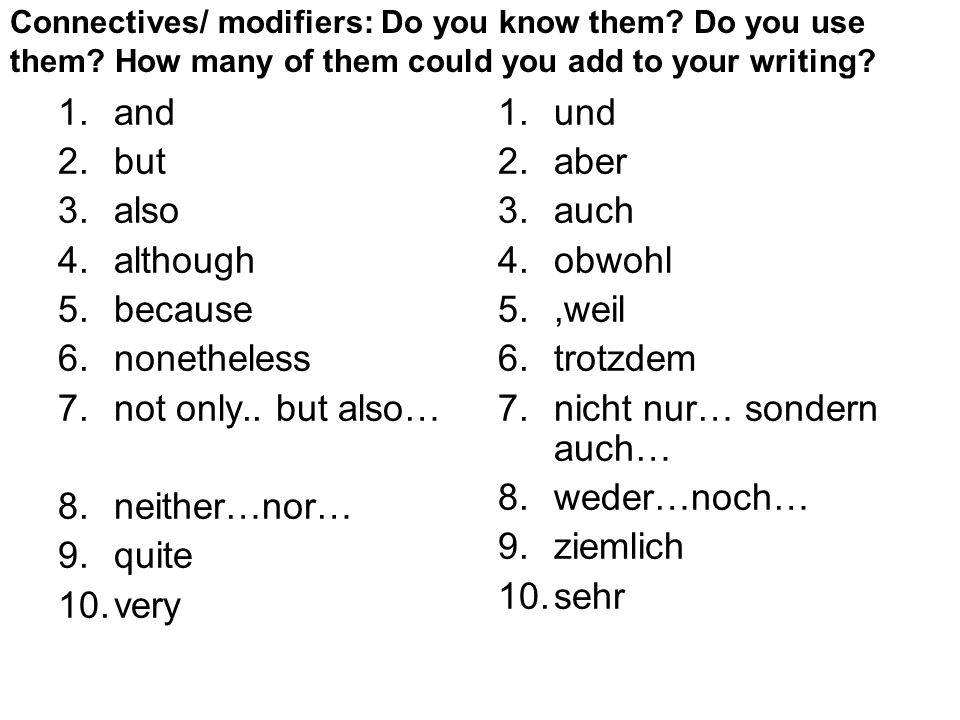 Connectives/ modifiers: Do you know them. Do you use them.