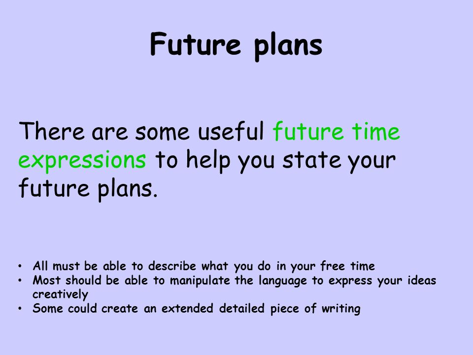 Future plans There are some useful future time expressions to help you state your future plans.