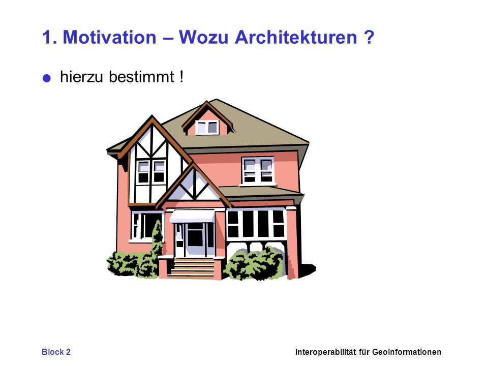 Block 2Interoperabilität für Geoinformationen 1. Motivation – Wozu Architekturen .
