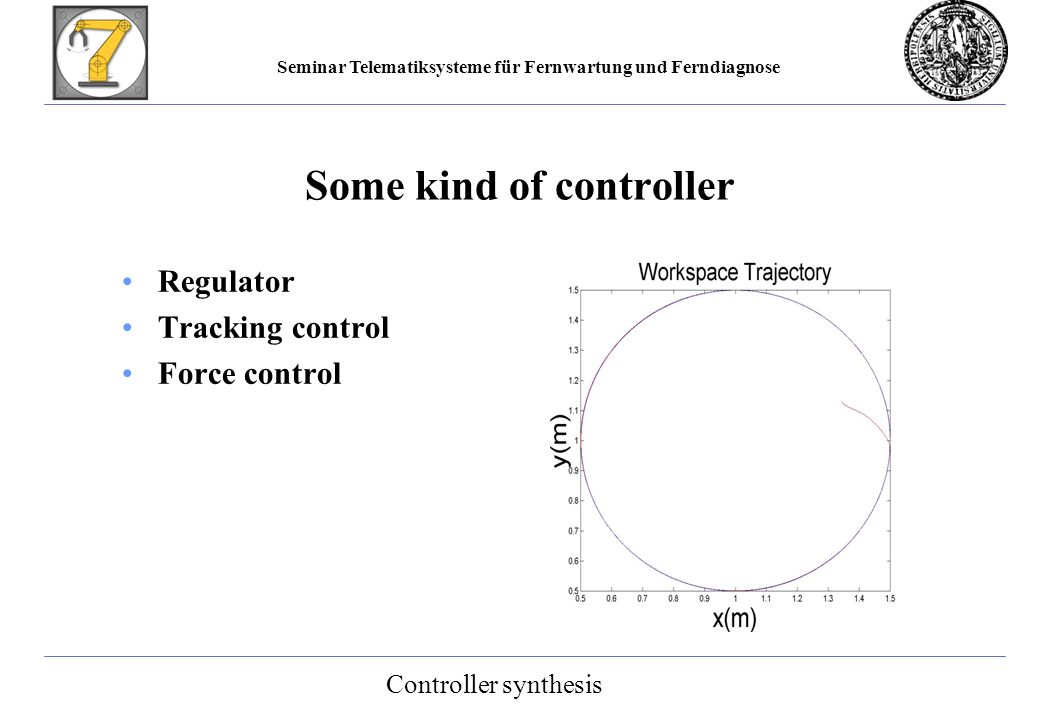 Seminar Telematiksysteme für Fernwartung und Ferndiagnose Some kind of controller Regulator Tracking control Force control Controller synthesis