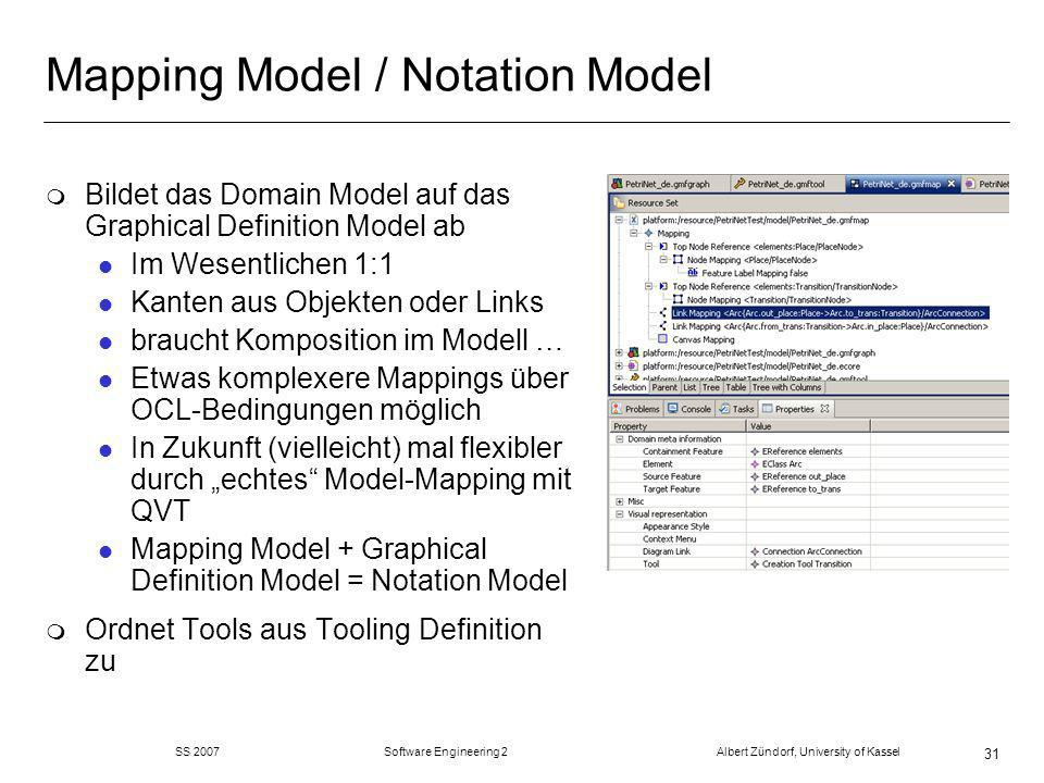 SS 2007 Software Engineering 2 Albert Zündorf, University of Kassel 31 Mapping Model / Notation Model m Bildet das Domain Model auf das Graphical Definition Model ab l Im Wesentlichen 1:1 l Kanten aus Objekten oder Links l braucht Komposition im Modell … l Etwas komplexere Mappings über OCL-Bedingungen möglich l In Zukunft (vielleicht) mal flexibler durch echtes Model-Mapping mit QVT l Mapping Model + Graphical Definition Model = Notation Model m Ordnet Tools aus Tooling Definition zu