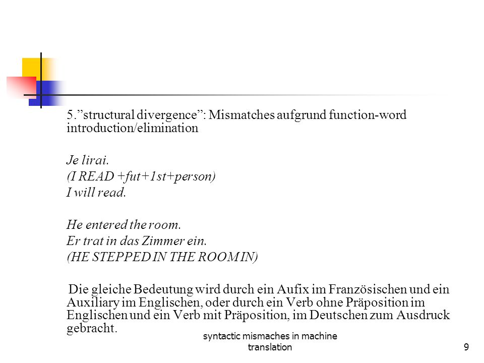 syntactic mismaches in machine translation9 5.structural divergence: Mismatches aufgrund function-word introduction/elimination Je lirai.