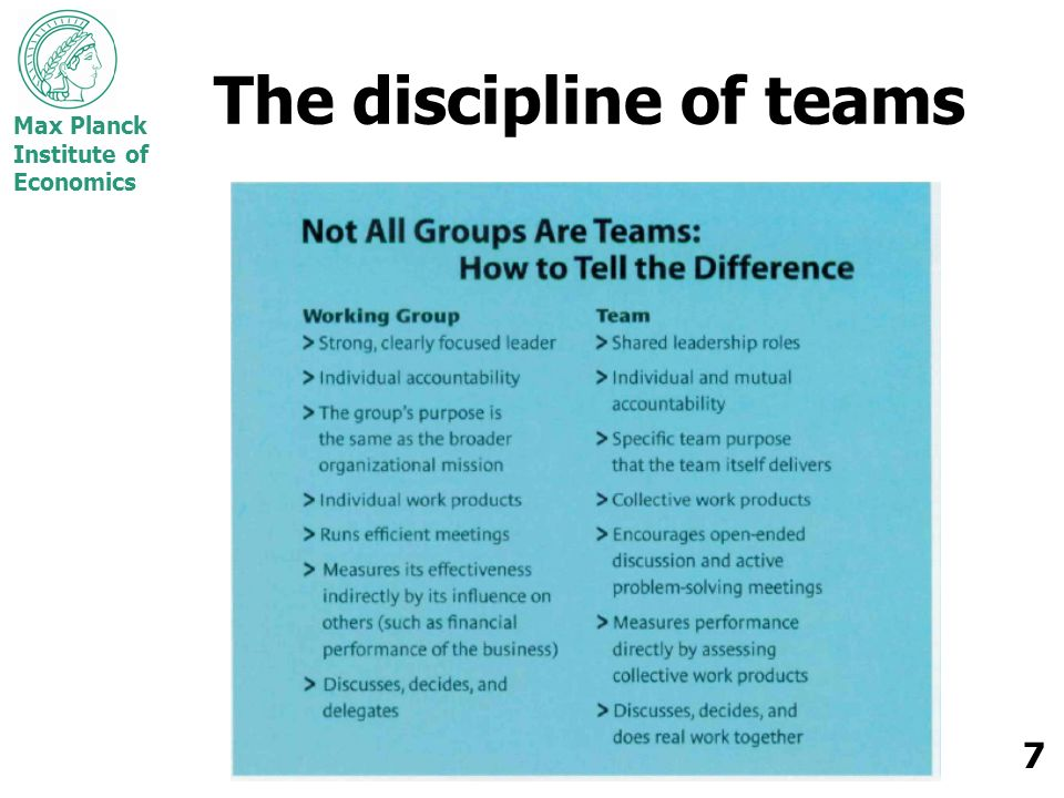 Max Planck Institute of Economics 7 The discipline of teams
