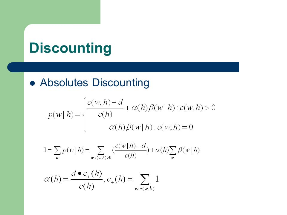 Discounting Absolutes Discounting