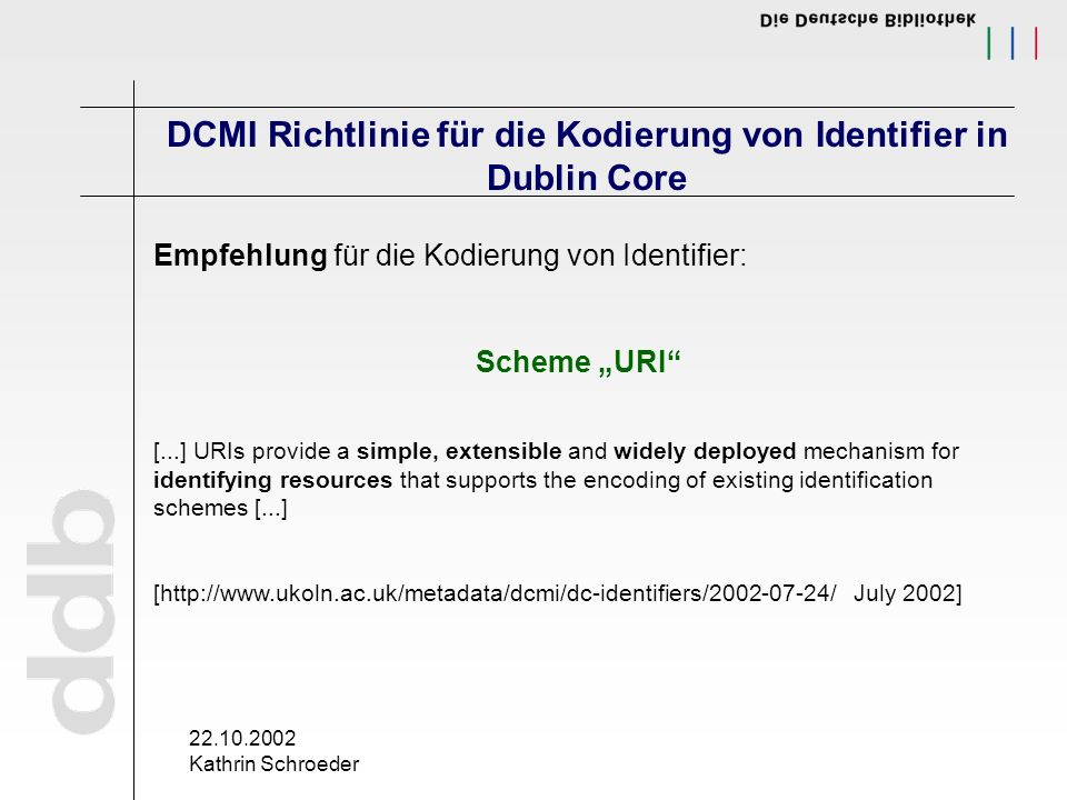 22.10.2002 Kathrin Schroeder DCMI Richtlinie für die Kodierung von Identifier in Dublin Core Empfehlung für die Kodierung von Identifier: Scheme URI [...] URIs provide a simple, extensible and widely deployed mechanism for identifying resources that supports the encoding of existing identification schemes [...] [http://www.ukoln.ac.uk/metadata/dcmi/dc-identifiers/2002-07-24/ July 2002]