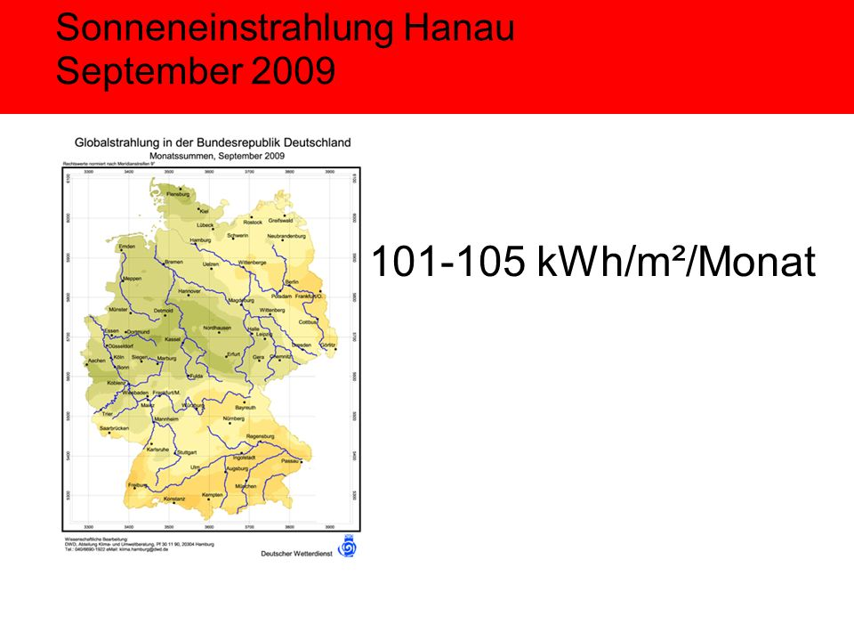 Sonneneinstrahlung Hanau September kWh/m²/Monat