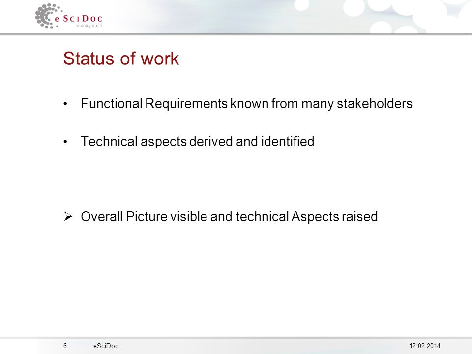 612.02.2014eSciDoc Status of work Functional Requirements known from many stakeholders Technical aspects derived and identified Overall Picture visible and technical Aspects raised