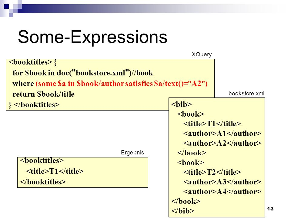 13 Some-Expressions bookstore.xml { for $book in doc( bookstore.xml )//book where (some $a in $book/author satisfies $a/text()= A2 ) return $book/title } Ergebnis XQuery T1 A1 A2 T2 A3 A4 T1