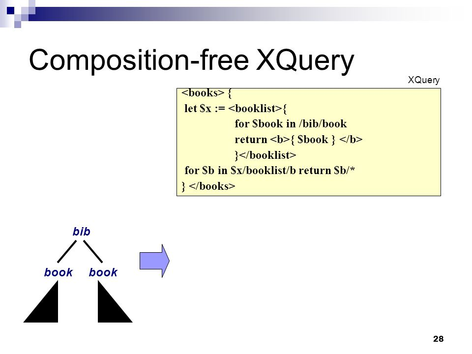 28 Composition-free XQuery book bib book { let $x := { for $book in /bib/book return { $book } } for $b in $x/booklist/b return $b/* } XQuery