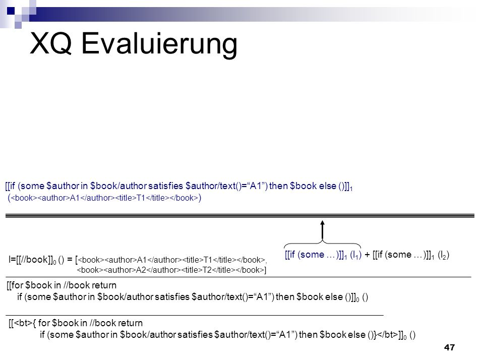 47 XQ Evaluierung [[if (some $author in $book/author satisfies $author/text()=A1) then $book else ()]] 1 ( A1 T1 ) [[ { for $book in //book return if (some $author in $book/author satisfies $author/text()=A1) then $book else ()} ]] 0 () [[for $book in //book return if (some $author in $book/author satisfies $author/text()=A1) then $book else ()]] 0 () l=[[//book]] 0 () = [ A1 T1, A2 T2 ] [[if (some …)]] 1 (l 1 ) + [[if (some …)]] 1 (l 2 )
