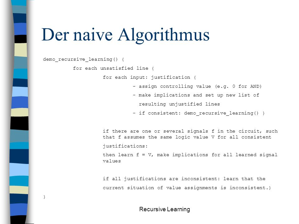 Recursive Learning Beispiel: 0. Learning level1. Learning level2.