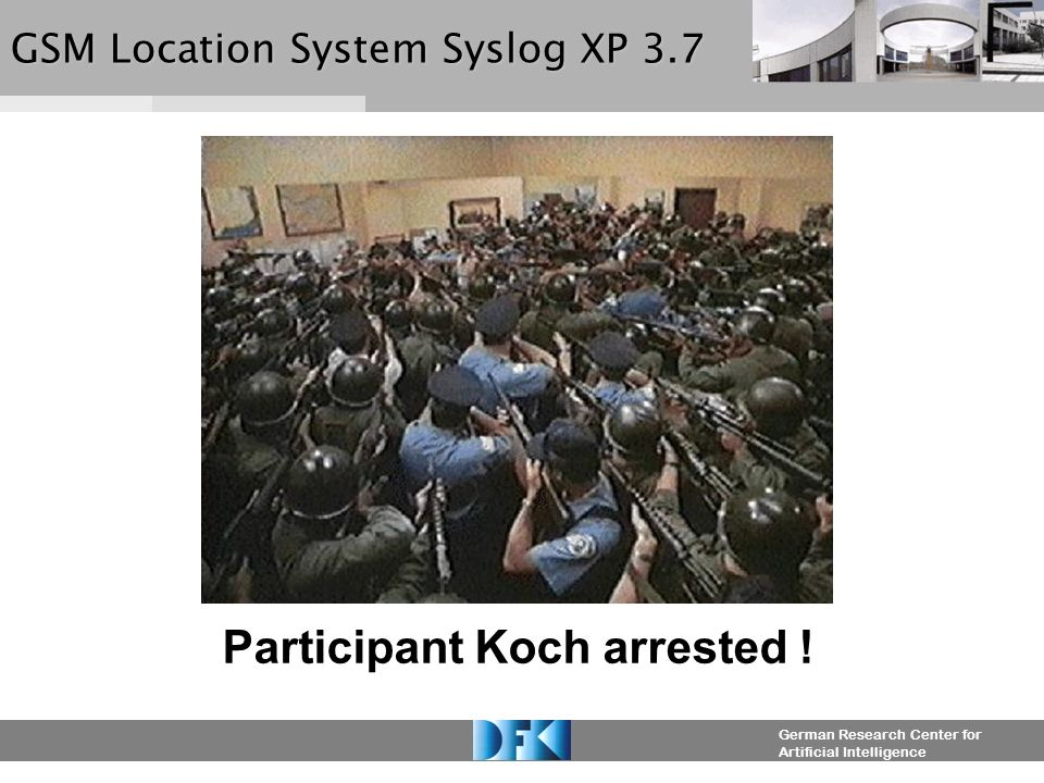 German Research Center for Artificial Intelligence GSM Location System Syslog XP 3.7 Location Retrieval: Participant: Koch Contacting...
