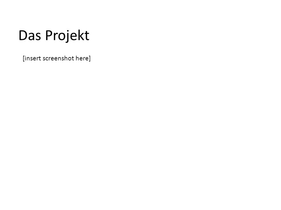 Das Projekt [insert screenshot here]