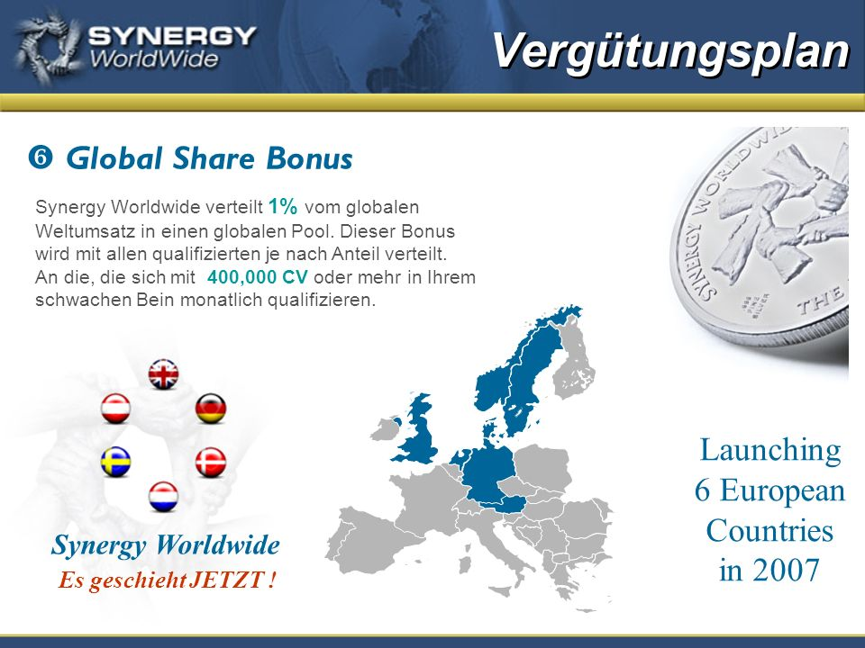Global Share Bonus Synergy Worldwide verteilt 1% vom globalen Weltumsatz in einen globalen Pool.