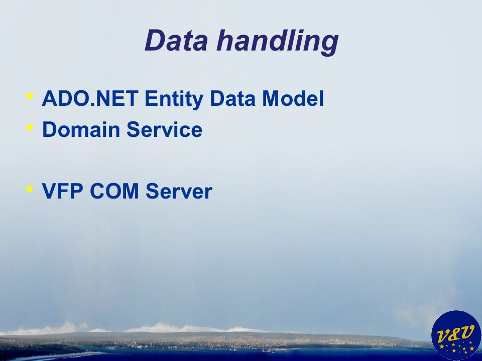 Data handling * ADO.NET Entity Data Model * Domain Service * VFP COM Server