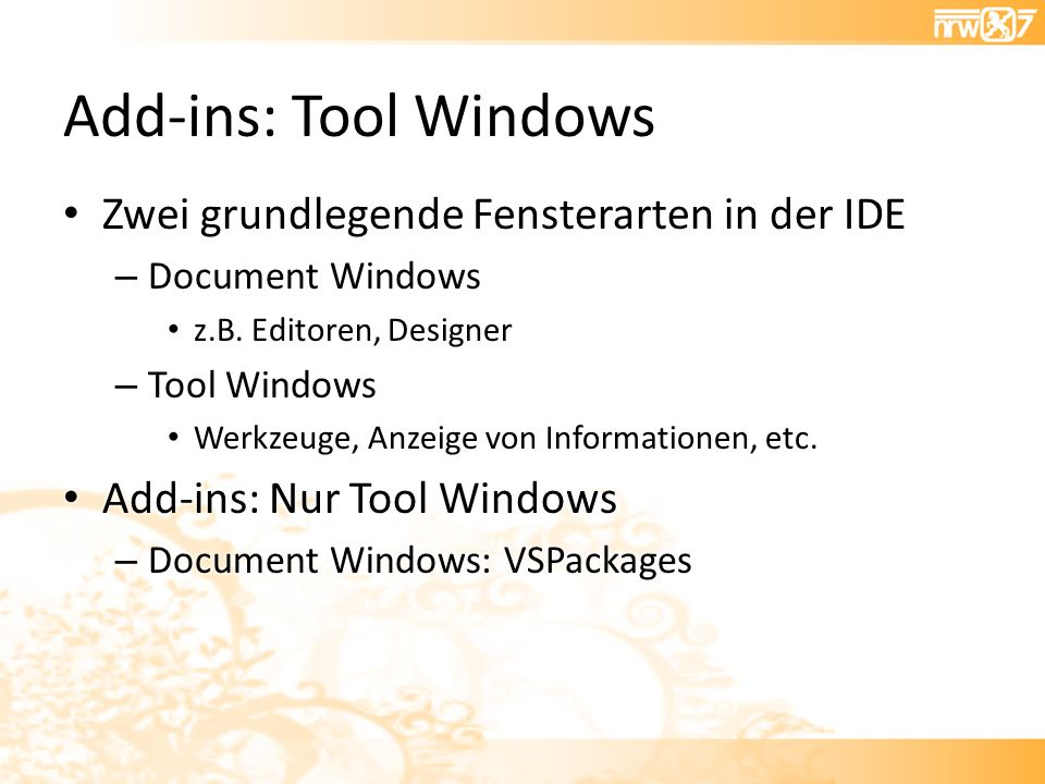 Add-ins: Tool Windows