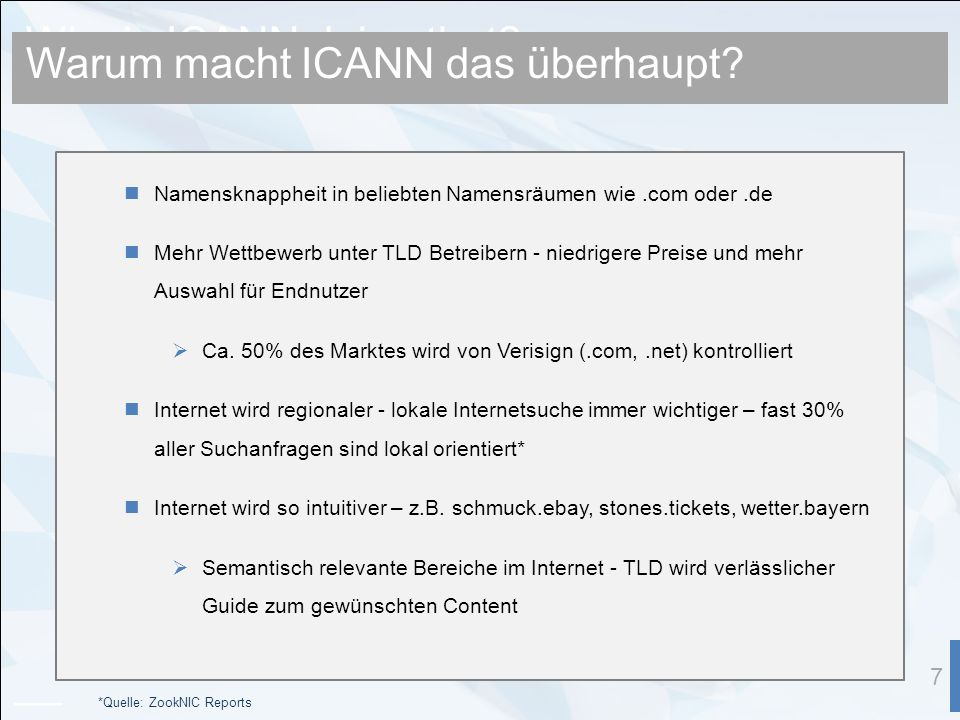 Why is ICANN doing that.