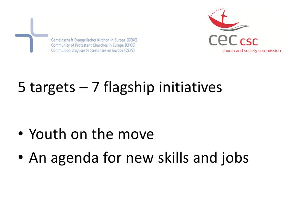 5 targets – 7 flagship initiatives Youth on the move An agenda for new skills and jobs