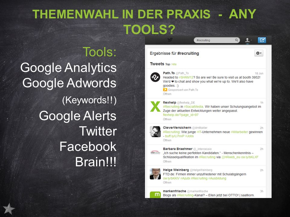 THEMENWAHL IN DER PRAXIS - ANY TOOLS.