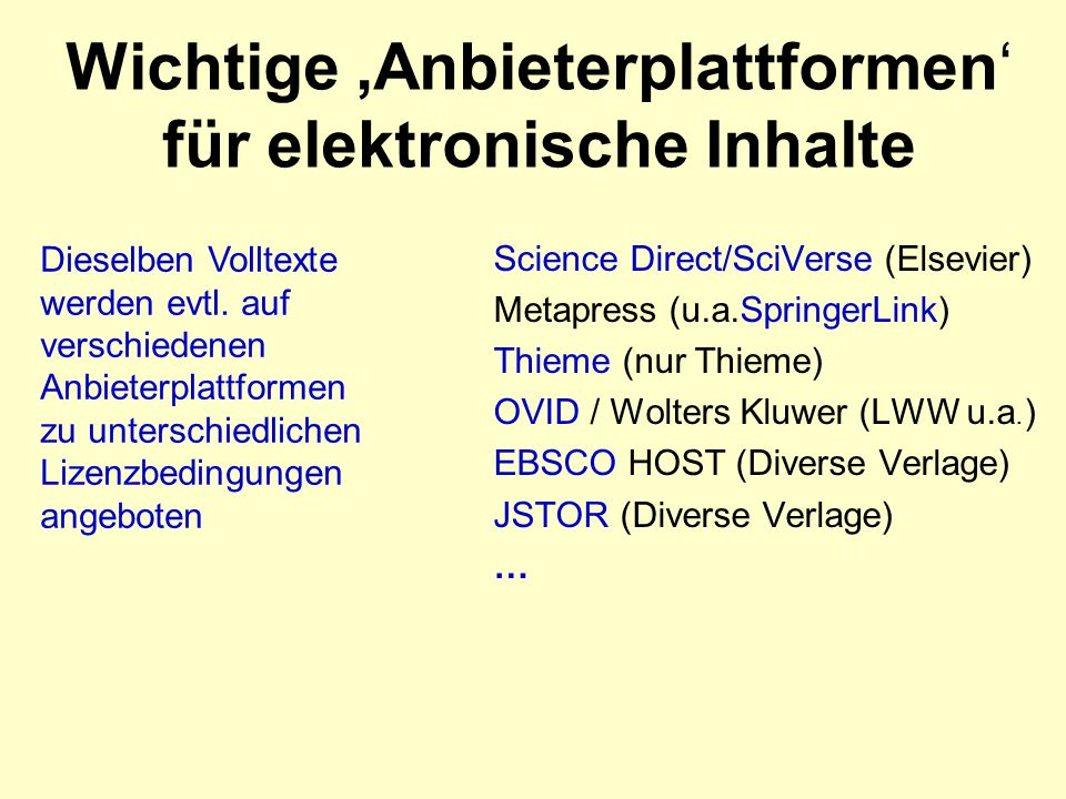 Wichtige Anbieterplattformen für elektronische Inhalte Science Direct/SciVerse (Elsevier) Metapress (u.a.SpringerLink) Thieme (nur Thieme) OVID / Wolters Kluwer (LWW u.a.