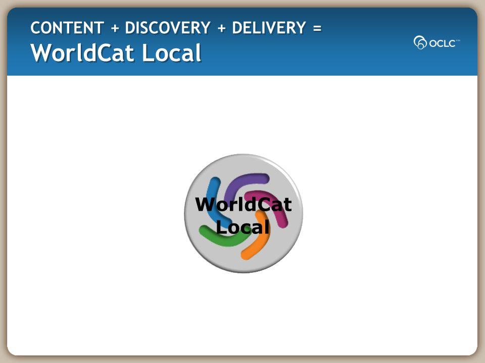 CONTENT + DISCOVERY + DELIVERY = WorldCat Local WorldCat Local