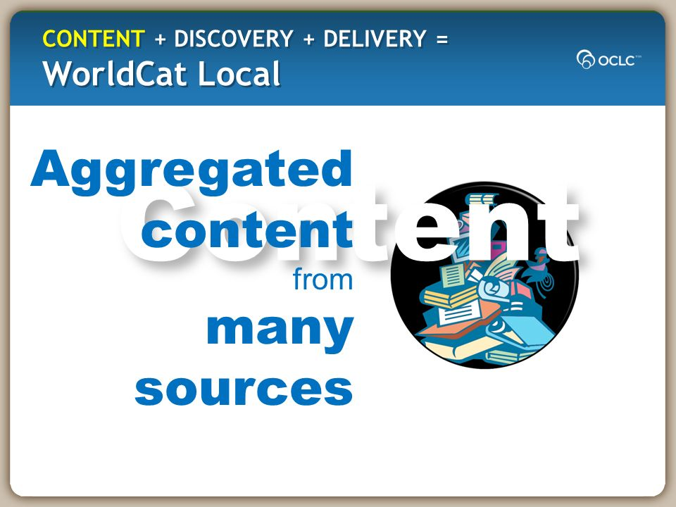 Content Aggregated content from many sources CONTENT + DISCOVERY + DELIVERY = WorldCat Local