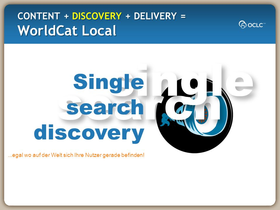 search single CONTENT + DISCOVERY + DELIVERY = WorldCat Local Single search discovery...egal wo auf der Welt sich Ihre Nutzer gerade befinden!