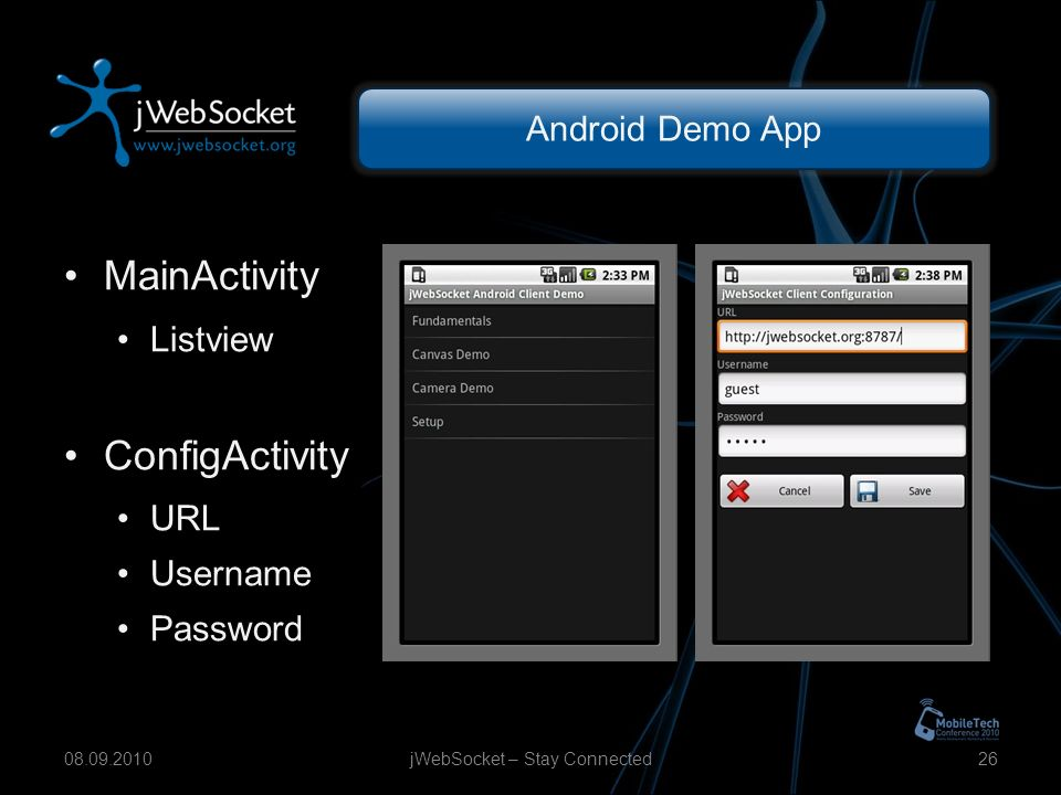 Android Demo App MainActivity Listview ConfigActivity URL Username Password jWebSocket – Stay Connected