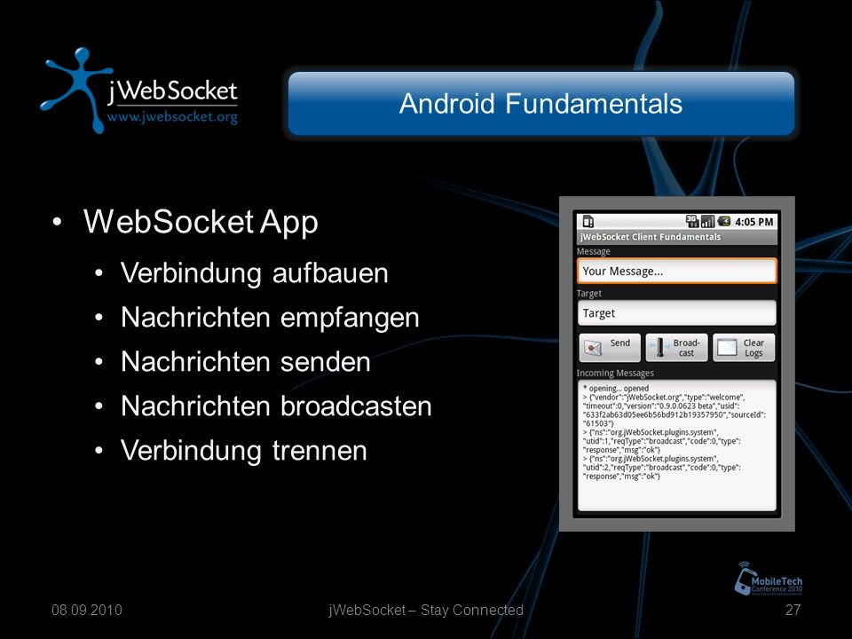 Android Fundamentals jWebSocket – Stay Connected WebSocket App Verbindung aufbauen Nachrichten empfangen Nachrichten senden Nachrichten broadcasten Verbindung trennen