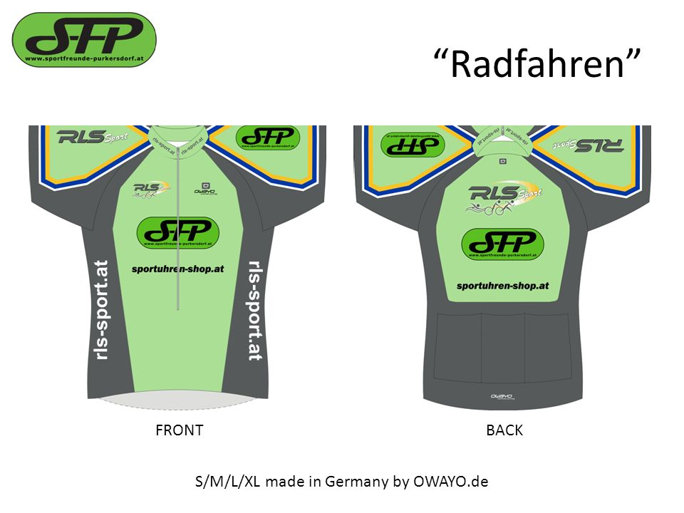 Radfahren S/M/L/XL made in Germany by OWAYO.de FRONTBACK