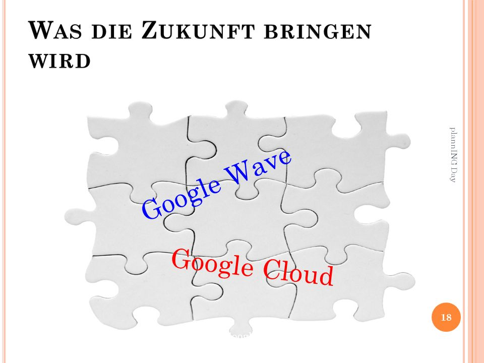 18 plannING Day Google Wave Google Cloud Google-Books, Google-Music, Google-Maps-Navigation etc.