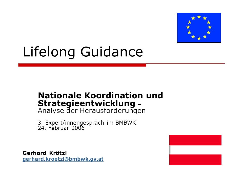 Lifelong Guidance Nationale Koordination und Strategieentwicklung – Analyse der Herausforderungen 3.
