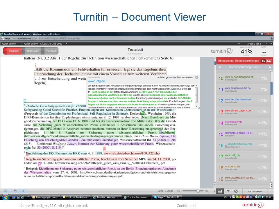 ©2012 iParadigms, LLC All rights reserved. Confidential Turnitin – Document Viewer