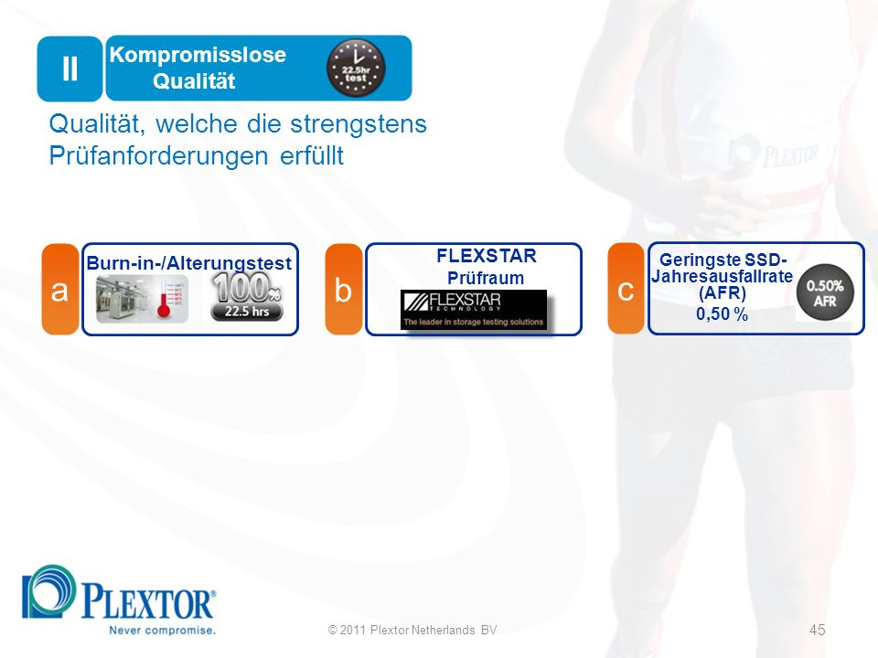 Qualität, welche die strengstens Prüfanforderungen erfüllt Kompromisslose Qualität a Burn-in-/Alterungstest FLEXSTAR Prüfraum b c Geringste SSD- Jahresausfallrate (AFR) 0,50 % 45 © 2011 Plextor Netherlands BV 45 II