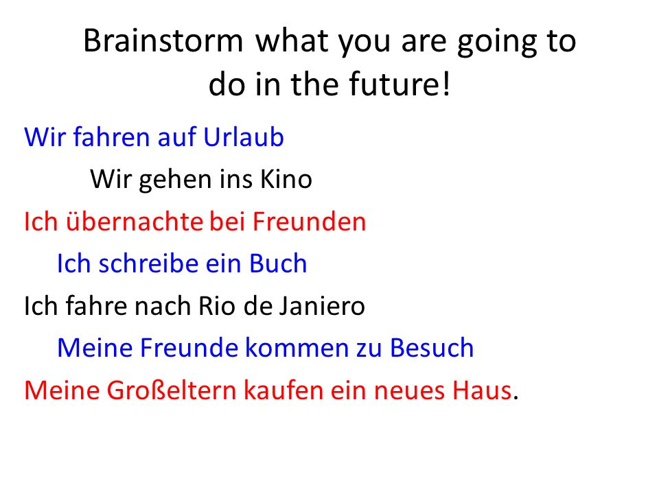 Brainstorm what you are going to do in the future.