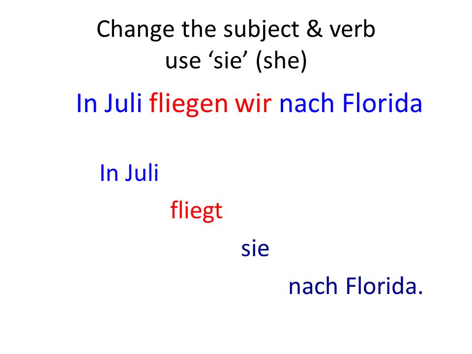 Change the subject & verb use sie (she) In Juli fliegen wir nach Florida In Juli fliegt sie nach Florida.