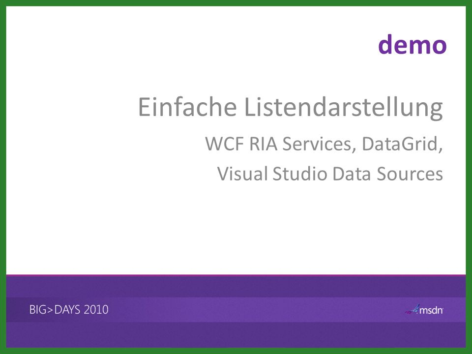 demo WCF RIA Services, DataGrid, Visual Studio Data Sources Einfache Listendarstellung